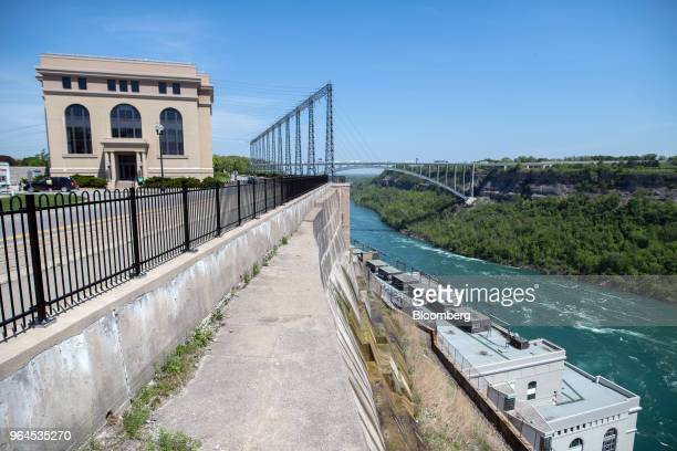 The Niagara River flows past the offices, control center, and lower river level turbine and generator facility at the Ontario Power Generation Inc....