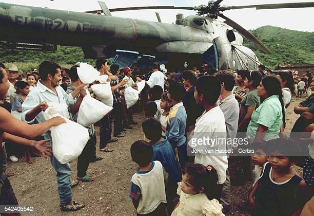 The Nicaraguan army distributes sacks of food in the devastated village of Yalaguina.