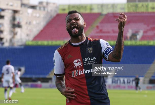 The nice exultation of the Cagliari Calcio player Joao Pedro after scoring the goal of 4 to 2 during the Serie A match between Cagliari Calcio and FC...