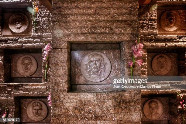 The niche with the remains of late guerilla fighter Ernesto Che Guevara surrounded by remains of others who fought with Che in Bolivia in the Che...