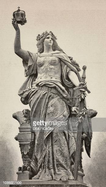 The Niederwalddenkmal a colossal sculpture representing an allegory of Germany by Johannes Schilling and Karl Weisbach in the Niederwald Rudesheim am...