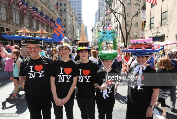 The Nielsen family take part in the Easter Parade on Fifth Avenue at St Patrick's Cathedral on April 16 2017 in New York City USA