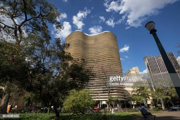 the niemeyer building in liberty square - belo horizonte stock pictures, royalty-free photos & images