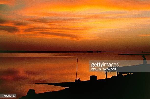The Niger River at sunset near Gao Mali