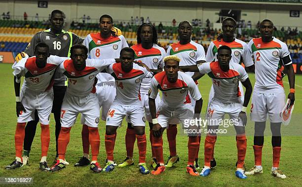 The Niger team pose for a photograph ahead of their African Cup of Nations group C football match against Morocco at the stade de l'amitie in...