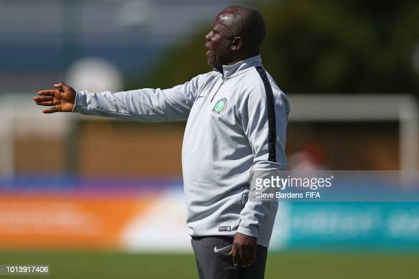 The Nigeria Coach Christopher Musa gives instructions during the FIFA U20 Women's World Cup France 2018 group D match between Haiti and Nigeria at...