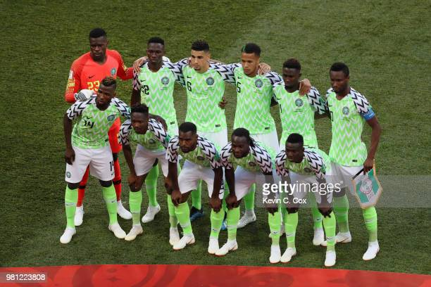The Nigeria players pose for a team photo prior to the 2018 FIFA World Cup Russia group D match between Nigeria and Iceland at Volgograd Arena on...