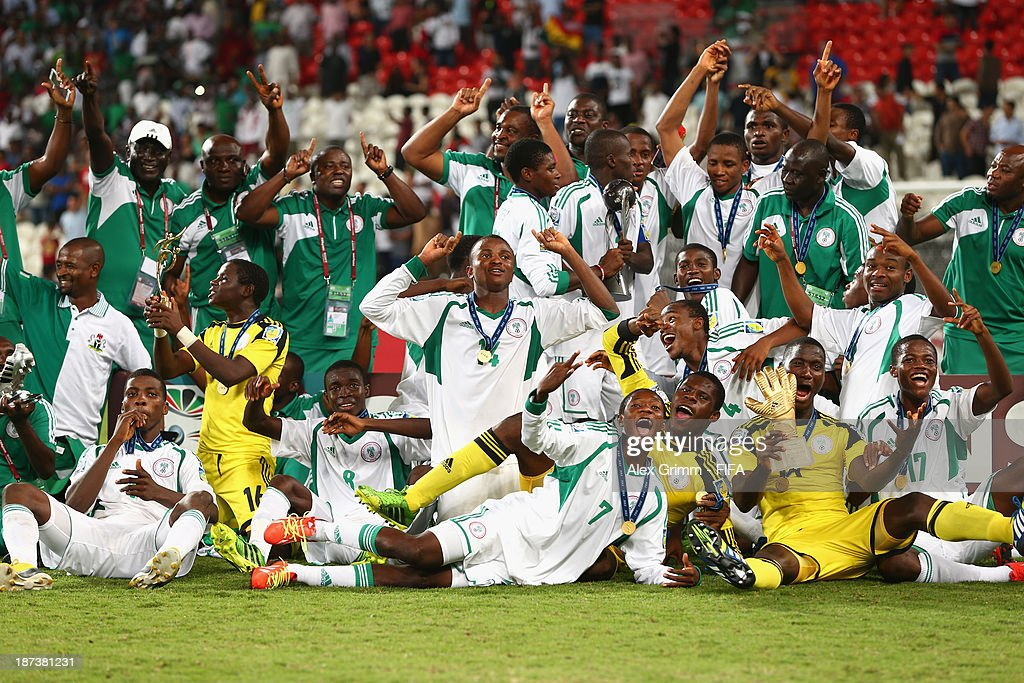 The Nigeria team celebrate their victory after the FIFA World Cup UAE 2013 Final between Nigeria and Mexico at Mohamed Bin Zayed Stadium on November 8, 2013 in Abu Dhabi, United Arab Emirates.
