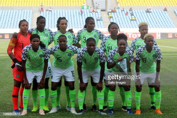 The Nigeria team line up prior to the 2018 TOTAL African Womens Cup of Nations match between South Africa and Nigeria on November 18 2018 in Cape...