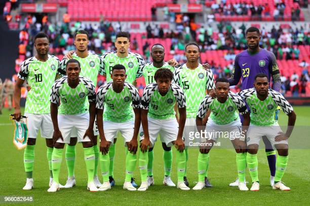The Nigeria team pose for a team photo prior to the International Friendly match between England and Nigeria at Wembley Stadium on June 2 2018 in...