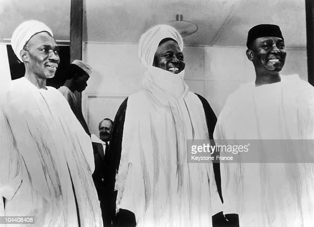 The Nigerian Prime Minister Abubakar Tafawa BALEWA the leader of the Northern region Ahmadu BELLO and the Senate president and Governor General of...