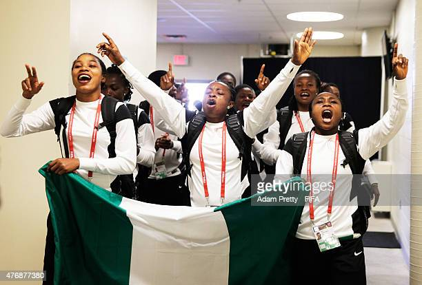 The Nigerian team arrive singing and dancing before the Group D match between Australia and Nigeria of the FIFA Women's World Cup 2015 at Winnipeg...