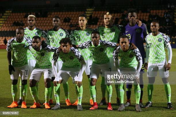 the Nigerian team pose for a group photograph before the International Friendly match between Nigeria and Serbia at The Hive on March 27 2018 in...