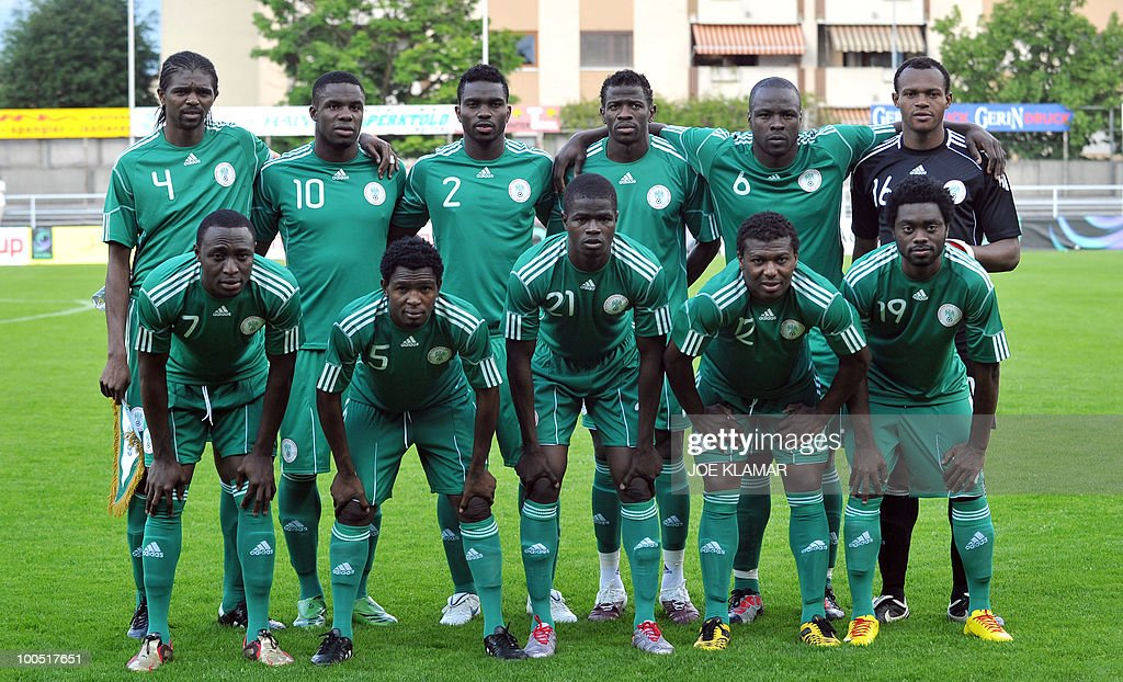 The Nigerian team pose for a photo during their friendly match between Saudi Arabia and Nigeria in Alpen stadium in Tyrolian Wattens on May 25, 2010 prior to the FIFA World Cup 2010 hosted by South Africa.i