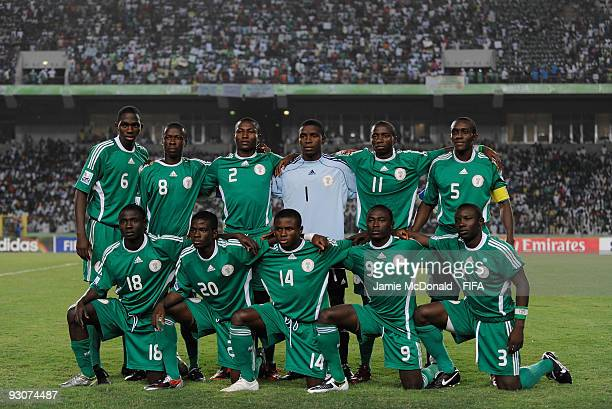 The Nigerian team pose for a team photograph during the FIFA U17 World Cup Final match between Switzerland and Nigeria at the Abuja National Stadium...