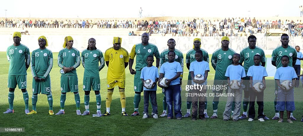 The Nigeria's football team poses prior an international friendly football match against North Korea at Makhulong stadium on June 6, 2010 in Tembisa . The 2010 FIFA World Cup football championship is due to take place in South Africa from June 11 to July 11 of 2010.