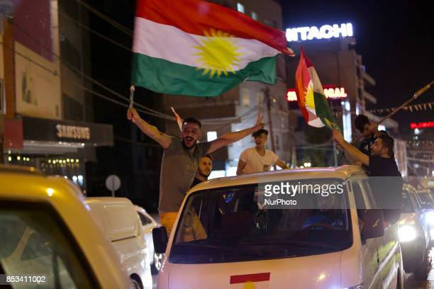 The night before the Kurdish referendum and the Kurds are celebrating in the streets of Duhok in anticipation of independence Duhok Iraq 24 September...