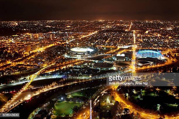 The Night Lights of Melbourne City, Victoria, Australia