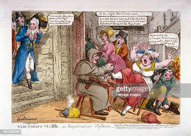 'The night mayor or magistratical vigilance' 1816 Alderman Wood followed by constables enters a thieves' kitchen where a watchman drinks gin with...