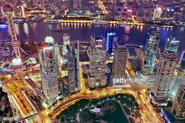 the night neon - lujiazui stock photos and pictures