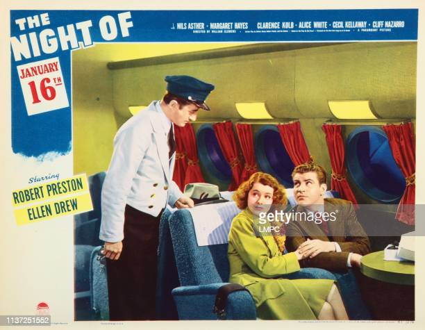 The Night Of January 16th lobbycard from left Leon Belasco Ellen Drew Robert Preston 1941