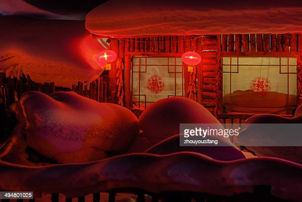the night of snow village - heilongjiang province stock pictures, royalty-free photos & images