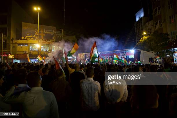 The night of the Kurdish referendum and the Kurds are celebrating in the streets of Duhok Iraq on 25 September 2017 Despite strong objections from...