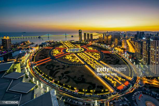 the night of xinghai square on new year's eve in dalian city,china. - liaoning province stock pictures, royalty-free photos & images