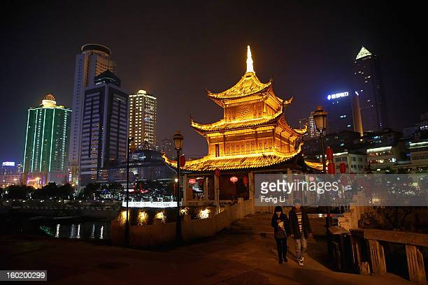 The night scene of an array of edifices and the Jiaxiulou Tower, the city's landmark ancient building for sightseeing, on January 27, 2013 in Guiyang...