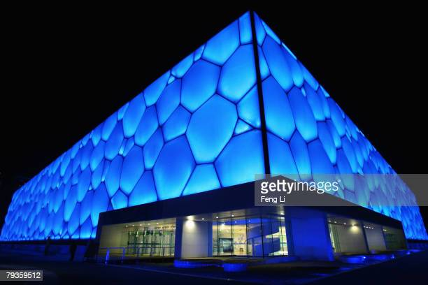 The night scene of the National Aquatics Centre is lit by blue lights on January 29 2008 in Beijing China The National Aquatics Center will host...