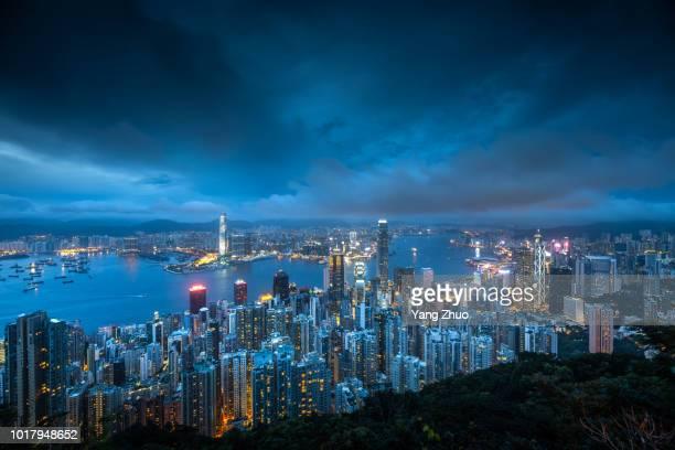 The night skyline of Hong Kong