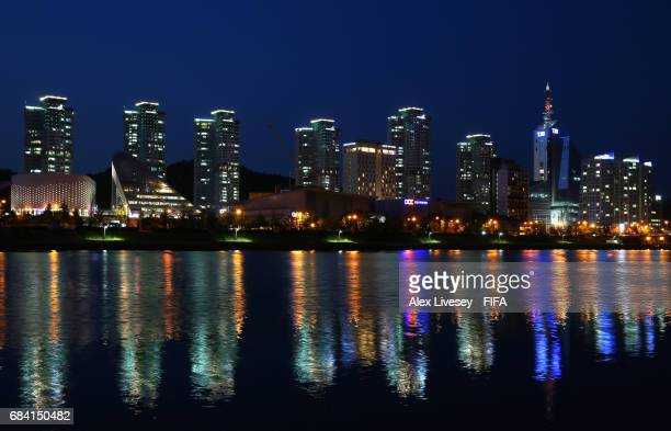 The night skyline of the Yuseong district in Daejeon is seen ahead of the FIFA U-20 World Cup on May 15, 2017 in Daejeon, South Korea.