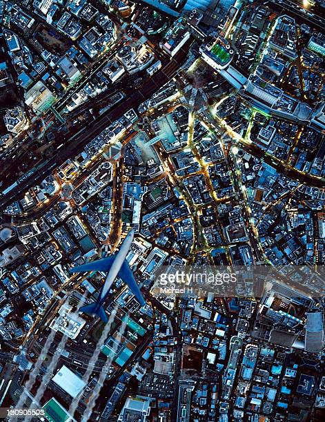 the night view from sky in shibuya - kanto region stock photos and pictures