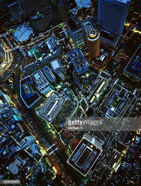 The night view from sky in Umeda Osaka