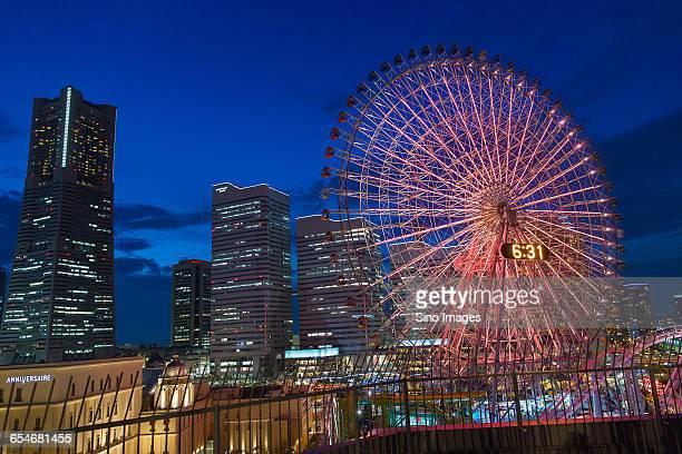 The Night View of Ferris Wheel in Yokohama