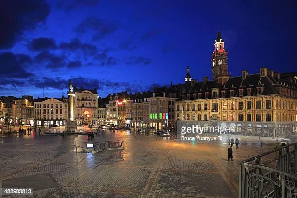 the night view of grand place - lille bildbanksfoton och bilder