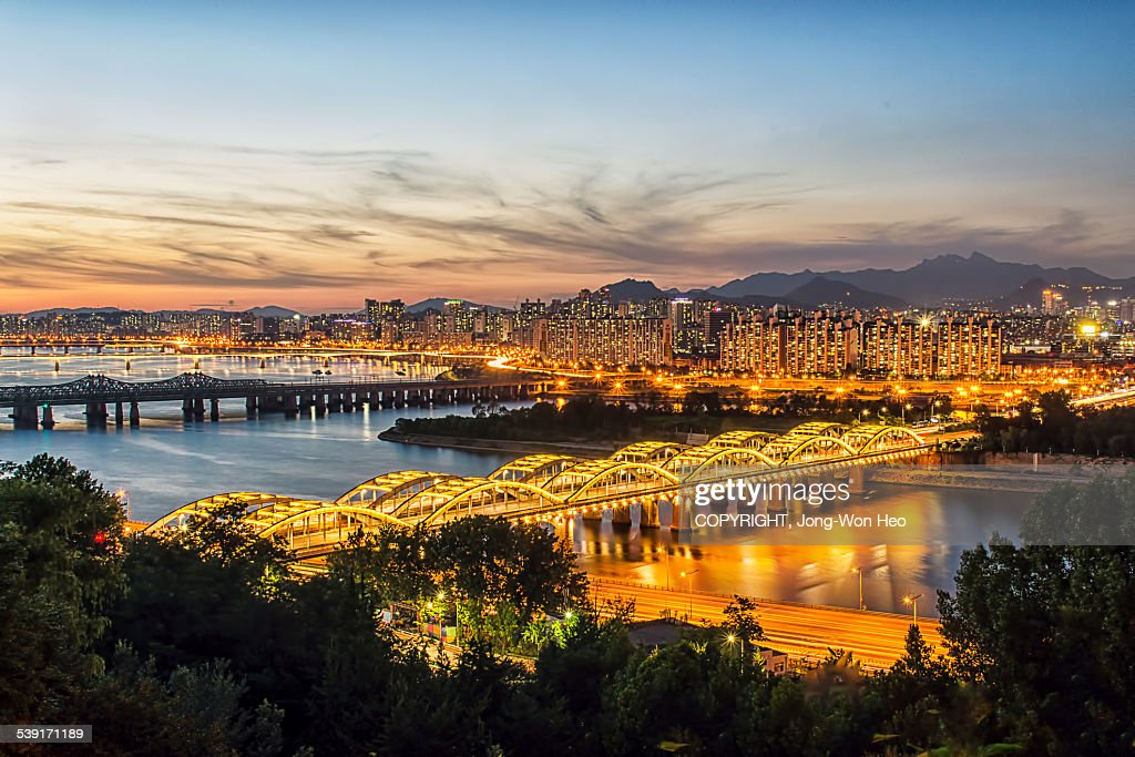 The night view of Han river : Stock Photo