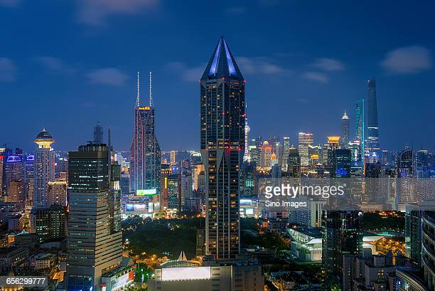 the night view of shanghai  - human artery stock photos and pictures