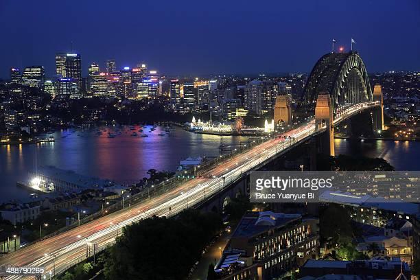 The night view of Sydney Harbour Bridge