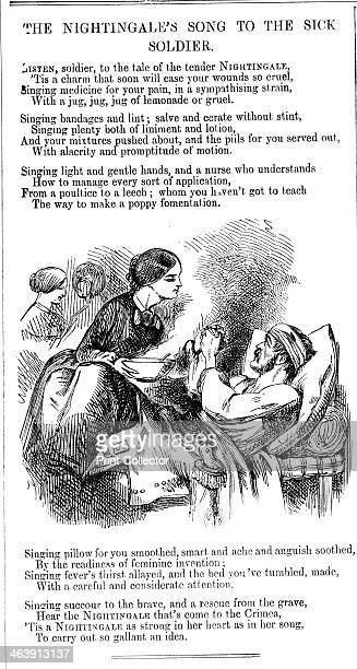 'The Nightingale's Song to to the Sick Soldier' 1854 Florence Nightingale tending a sick soldier in hospital in the Crimea In 1854 during the Crimean...