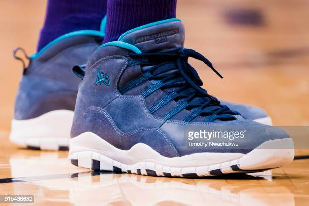 37bb48234e9116 The Nike Air Jordan 10 sneakers of Kemba Walker are seen against the Denver  Nuggets at