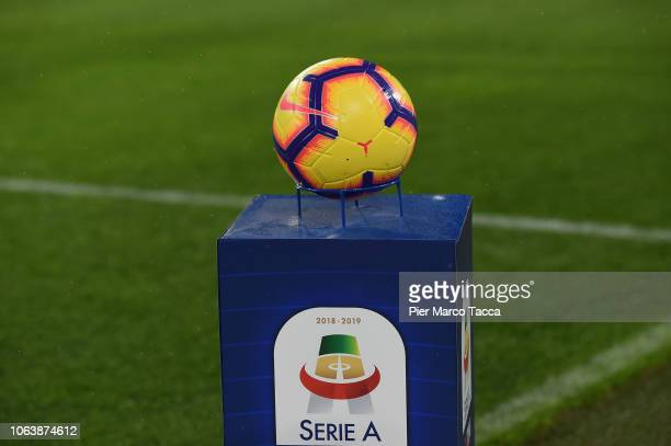 The Nike ball is displayed during the Serie A match between Juventus and Cagliari on November 3 2018 in Turin Italy