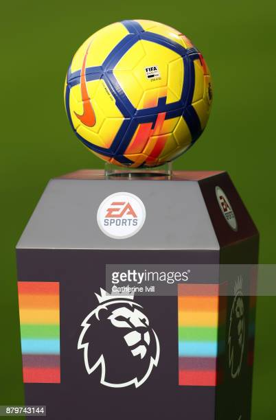 The Nike ball sits on top of the plinth with the Premier League logo and rainbow for the Stonewall rainbow laces campaign before the Premier League...