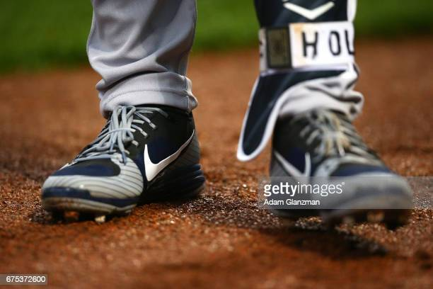 The Nike cleats of Jacoby Ellsbury of the New York Yankees are seen in the first inning during a game against the Boston Red Sox at Fenway Park on...