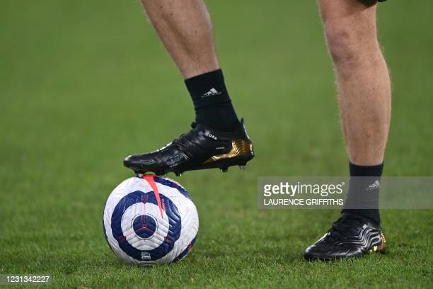 The Nike Flight ball is seen on the pitch ahead of during the English Premier League football match between Leeds United and Southampton at Elland...