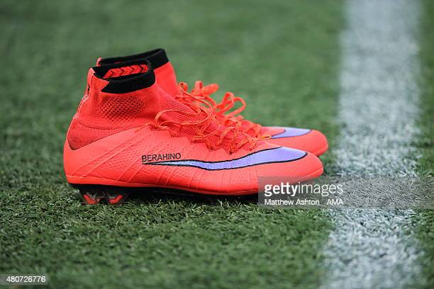 The Nike Football Boots of Saido Berahino of West Bromwich Albion during the West Bromwich Albion US Tour on July 14 2015 in Orlando Florida