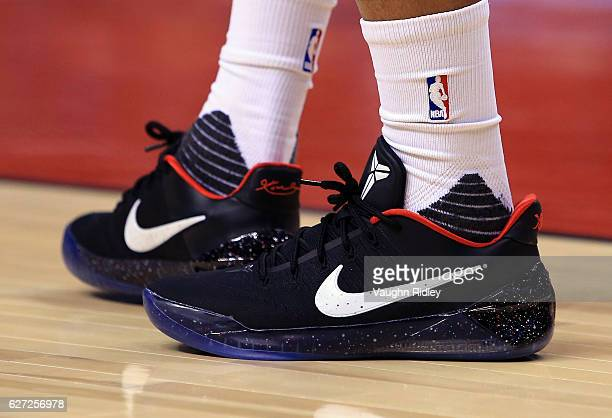 The Nike Kobe AD shoes worn by DeMar DeRozan of the Toronto Raptors during the first half of an NBA game against the Los Angeles Lakers at Air Canada...