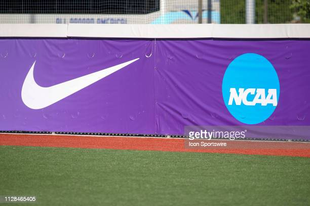 The Nike logo and the NCAA logo on the wall during the a college softball game between the Syracuse Orange and the Oklahoma Sooners during the GCU...