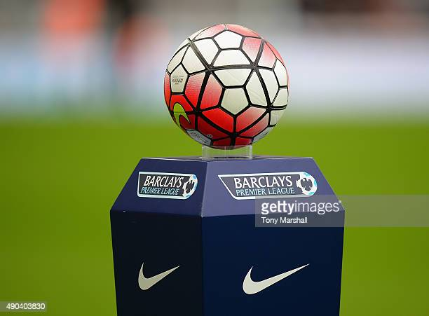 The Nike matchball during the Barclays Premier League match between Newcastle United and Chelsea at St James' Park on September 26 2015 in Newcastle...