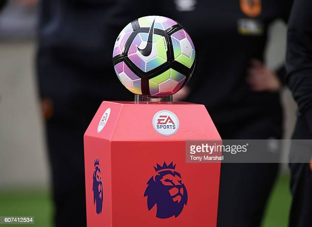 the Nike matchball on the plinth during the Premier League match between Hull City and Arsenal at KCOM Stadium on September 17 2016 in Hull England